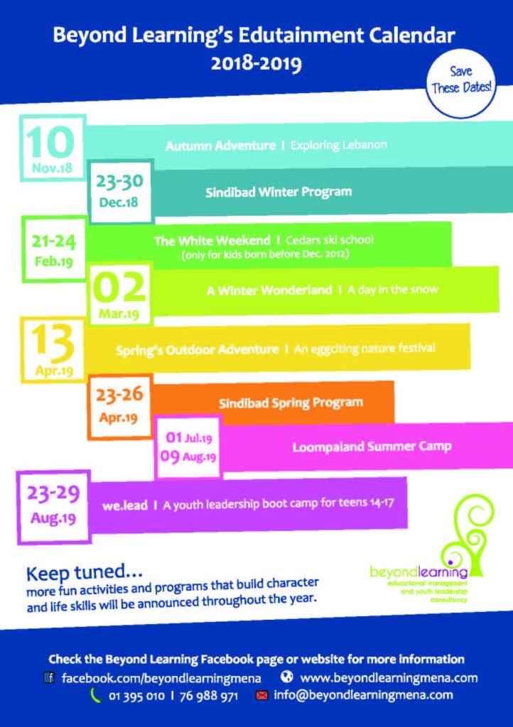 BL Edutainment Calendar 2018-2019
